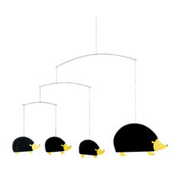 Flensted Mobiles - Hedgehog Family Mobile - Hedge fun! Don't worry — this friendly family of hedgehogs won't send shivers up your spine — only theirs. In fact, the faintest breeze will put them in motion to the delight of all.
