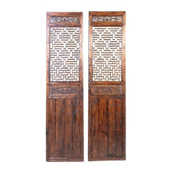 Pre-owned Antique Chinese Wooden Doors - A Pair - Chinese cunninghamia (china-fir) wooden doors hand-crafted with traditional Chinese motif and painted in two-color tone to highlight the intricate carvings. The perfect pieces of rustic Asian decor. How will you use them?