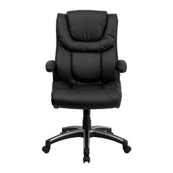 Flash Furniture - Flash Furniture Office Chairs Leather Executive Swivels X-GG-H6989-TB - This well padded Black Leather Office Chair has very nice contours that you can feel. Besides the generous padding equipped with this chair it has a locking tilt control, pneumatic seat lift and a sturdy nylon base that is trimmed in silver. [BT-9896H-GG]