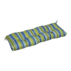 Greendale Home Fashions Indoor Bench Cushion - 44 x 17 in. - Vivid Stripe - Bolster your entryway bench with the Greendale Home Fashions Indoor Bench Cushion - 44 x 17 in. - Vivid Stripe's bright hues. Overstuffed with lofty 100% polyester fill and covered with a swath of bright blue, white, and green striped fabric, this wide bench cushion secures snugly to furniture with string ties at the back corners. Circle tacks prevent the filling from shifting, and mitered edges are a crisp, clean finish. Includes 30-day defect-free manufacturer's guarantee. About Greendale Home Fashions Greendale Home Fashions began operations in 1954 as a decorative products manufacturer offering sewing, curtains, cushions, and pillows during the height of the department store era. Over the next 30 years, they expanded their offerings by moving into interior and exterior home fashions. Quality and comfort have been touchstones for Greendale Home Fashions since the very beginning, and those standards are still evident today as they strive to provide the most plush and comfortable cushions on the market. In 2006, on the success of their cushions, Greendale Home Fashions extended their comfort and quality to their four-legged customers by expanding into the production of economy pet beds and supplies. As a small US business, Greendale Home Fashions is proud to bring the best in design and construction to their customers and their pets.