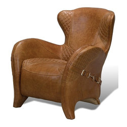 "Sarreid Ltd - Zeus Arm Chair by BSEID - A choice seat, for certain. Luscious Columbia brown leather is expertly upholstered. Textured diamond patterned leather adds additional interest. The bridal-like strapping on the sides suggests a ""Ralph Lauren"" styling. Not only unquestionably eye-catching, but also unquestionably comfortable. Add an occasional table for necessities and an ottoman for feet, you'll be competing to sit there. (SAR) 33"" wide x 37"" deep x 36"" high"