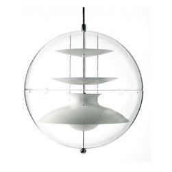 """Verpan - Verpan Panto pendant light - The Panto pendant light from Verpan has been designed by Verner Panton in 1977. This suspension mounted luminaire is great for incandescent lighting. The Panto is composed of white reflectors suspended by three steel chains. These reflectors are encased within a transparent acrylic globe. The tube of this fixture is engraved with the Verner Panton signature, ensuring this light's authenticity. The Panto pendant light is a true work of art displaying a fascinating and timeless design that is sure to catch the eye of any on-looker.    Product Details: The Panto pendant light from Verpan has been designed by Verner Panton in 1977. This suspension mounted luminaire is great for incandescent lighting. The Panto is composed of white reflectors suspended by three steel chains. These reflectors are encased within a transparent acrylic globe. The tube of this fixture is engraved with the Verner Panton signature, ensuring this light's authenticity. The Panto pendant light is a true work of art displaying a fascinating and timeless design that is sure to catch the eye of any on-looker.   Details:                                      Manufacturer:                                      Verpan                                                     Designer:                                     Verner Panton                                                     Made in:                                     Denmark                                                     Dimensions:                                      Small: Height: max 157.48"""" (4 m) Diameter: 15.75"""" (40 cm)            Large: Height: max 157.48"""" (4 m) Diameter: 19.69"""" (50 cm)                                                                   Light bulb:                                      Small: 1 X 40W incandescent            Large: 1 X 75W incandescent                                                                   Material:                                      Aluminum, Acrylic"""