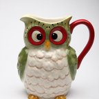 "Cosmos - 8"" Green Cross Eyed Owl with Red Handle Festive Christmas Pitcher - This gorgeous 8"" Green Cross Eyed Owl with Red Handle Festive Christmas Pitcher has the finest details and highest quality you will find anywhere! 8"" Green Cross Eyed Owl with Red Handle Festive Christmas Pitcher is truly remarkable."