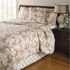 "Greenland Home Fashions - Mandarin 4 Piece Quilt Set in Taupe - Gazebos, palm trees and covered wooden bridges are some of the exotic scenery featured on the Mandarin bedding set, adding authentic Polynesian-Oriental style to your room. Toile-style print in a topical island motif. Features: -Available in Full/Queen or King size. -Set includes one quilt, two quilted pillow shams and a coordinating bed skirt. -Taupe color. -Quilt and shams: Face and back is 55% cotton and 45% linen. -Fill is 100% cotton. -Tailored bed skirt features a 100% cotton 15"" drop. -Oversized for better mattress coverage. -Machine washable. -Dimensions: 92""-106"" Height x 88""-92"" Width."