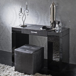 ROSSETTO DIAMOND DRESSING TABLE - Hollywood glamour meets modern Italian design — the Diamond Dressing Table by Rossetto is constructed of high quality wood and wood veneers with a high gloss finish. This space-saving design features hidden storage in the right pedestal and underneath the crocodile-print leather table top, which lifts to reveal a full mirror and convenient caddies for dressing essentials. Genuine Strass Swarovski Crystals adorn the front of the Diamond Dressing Table, adding a touch of dazzle to this luxurious bedroom piece. Select Ivory or Black.