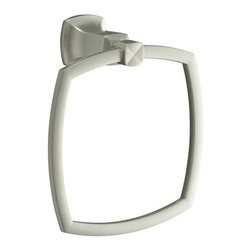 "Kohler - Kohler K-16254-BN Brushed Nickel Margaux Modern Timeless Design Towel - Margaux(tm) towel ring Margaux accessories create an aura of classic elegance with a variety of finishes that reinforce a sleek, contemporary feel as well as the timelessness of traditional décor.  7-1/2""W x 3-1/2""D x 8-5/16"" H Classic, fluid styling that won t go out of style  Easy to install template included  Premium metal construction for durability and reliability  Coordinates with Margaux faucets"