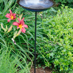 Byer of Maine - Circle Birdbath Staked Blue - The Alcyon Circles Bird Bath is a made from durable and attractive porcelain stoneware that will withstand outdoor exposure. The Beautiful glazes accentuate the concentric circle design. This unique design looks beautiful in your back backyard, and comes