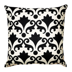 1414 Home - Venice Block Print Modern Cotton Square Throw Accent Toss Pillow, Black, 20x20 - Inspired by a vintage block print paper found in a Venice boutique.  100% cotton.  Hidden zipper closure.  Down insert.