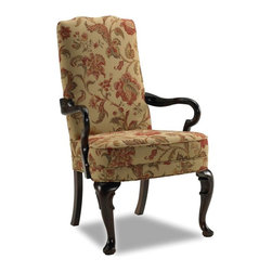 Sam Moore - Sam Moore Adams Exposed Wood Chair - Tuscany Multicolor - 4710.11/2157 TUSCANY/E - Shop for Living Room Chairs from Hayneedle.com! The Sam Moore Adams Exposed Wood Chair - Tuscany has a classic Queen Anne shape with high back shaped goose neck arms and tailored welt trim. The espresso finish on the exposed wood floral fabric upholstery pattern and overall look inspire your inner designer.About Sam MooreSince 1940 Sam Moore's hand-crafted upholstered furniture has offered extraordinary quality comfort and style. This Bedford Virginia-based company proudly crafts its products right here in the USA. From classic to transitional to contemporary styles Sam Moore takes time with every detail making sure each piece is something you'll appreciate in your home.