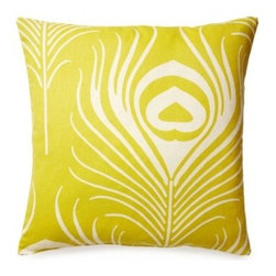 5 Surry Lane - Thomas Paul Peacock Chartreuse Feather Pillow - This pillow from Thomas Paul is just as pretty as a peacock. Your choice of soothing blue or electric chartreuse makes a stunning statement on your bed or sofa. The iconic imagery and bold colors make a beautiful pairing for your contemporary home.
