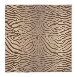 """Trans-Ocean - Zebra Brown 7'10"""" SQ Indoor/Outdoor Flatweave Rug - Casual and Simple pattern combined with beautifully blended yarns in modern colors make this Machine Made rug rise above the rest. Wilton Woven in Turkey of 100% Polypropylene and UV stabilized for Indoor or Outdoor use. A loose weave of Polypropylene creates the look of natural fibers but is easy to care for."""