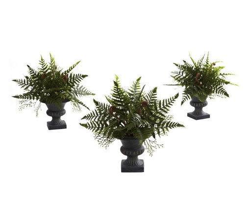 Mixed Fern Bush with Urn (Set of 3) - Ferns just capture nature at it's finest, don't they. They are so lush, so leafy, so delicate, and yet so full of life as well. This fern mixture captures all of that, and combines them into a cornucopia of shapes and textures bursting forth from a stately, decorative urn. This is a set of three, so you have all kinds of decoration possibilities, too. Perfect for both home and office. Height= 10 In. x Width= 10.5 In. x Depth= 10.5 In.