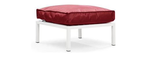 Zuo Modern - Copacabana Ottoman Red - The Copacabana collection is designed for funky versatility. This set has modular pieces of an armless chair, a corner armchair, an ottoman, and a table. The cover is made from a completely waterproof and UV resistant polyester fiber. The frame is made from an epoxy coated aluminum. The fill is 100% pure polystyrene beads. All the cushions can be attached via durable oversize zipper. Have fun with the cushions and throw them in the pool...they will float!