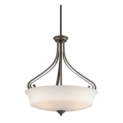 KICHLER - KICHLER Wickham Transitional Inverted Pendant Light X-ZO60724 - A unique blend of traditional influences with clean, modern lines gives an updated look to this Kichler Lighting inverted pendant light. From the Wickham Collection, it features a rich Olde Bronze finish and coordinating satin etched glass shade.