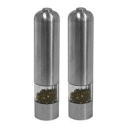iTouchless - Automatic Stainless Steel Pepper and Salt Grinder Multicolor - PM001C - Shop for Herb and Spice from Hayneedle.com! Delight guests with the dynamic duo of food prep tools - the Automatic Stainless Steel Pepper and Salt Grinder. This pepper mill and salt grinder are welcome additions to your next dinner party. Simply press the button on the top. The stainless steel grinding mechanism is adjustable from fine to coarse and a light turns on automatically at the bottom when you activate the mill in low-light conditions. The nut underneath the mill controls the texture. Just turn the mill/grinder clockwise for a finer output counterclockwise for a coarser condiment.About iTouchlessiTouchless Housewares & Products creator of the Touchless Trashcan EZ Faucet and Towel-Matic manufactures and distributes a line of innovative products for your home and office. Their mission: to make people's lives a little easier by using their products. Over the last 15 years iTouchless has established a solid foundation and assembled multiple factories in Asia to support the increasing demand of sensor-activated products. Their vision for the future is to create a continuous stream of customer-driven innovations while selecting strategic partners and distributors to form mutually beneficial relationships.