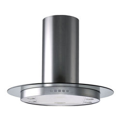 Kitchen Bath Collection - Circular Stainless Steel Island Hood w Tempered Glass by Kitchen Bath Collection - The circular stainless steel island hood with tempered glass by Kitchen Bath Collection features a unique circular design, one-piece chimney with no visible seams, touch screen control panel, four LED lights, and three speed settings. It includes a flexible aluminum duct for easy attachment to the ceiling, aluminum micro-cell grease filters (dishwasher friendly), a UL-certified motor, and charcoal carbon filters for optional vent-less installation (no additional kit required). Made from high quality 304 stainless steel.