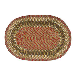 Earth Rugs - C-24 Olive/Burgundy/Gray Oval Braided Rug 27in.x45in. - Olive/Burgundy/Gray Oval Braided Rug 27 in. x45 in.