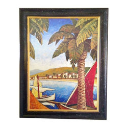 Pre-owned Framed Print - Cote D' Azure - A large framed print of an oil painting featuring an image of Cote D' Azure, also known as the French Riviera. The depiction of the Mediterranean coastline is beautifully portrayed and demonstrates a true artist's talent. The work of art is professionally framed in a wood frame that is in great condition. The ideal wall accent for those who love to travel and great for a nautical inspired living space.