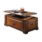 Riverside Furniture - Riverside Furniture Latitudes Steamer Trunk Lift Top Cocktail Table in Aged Cogn - Riverside Furniture - Coffee Tables - 38703 - Riverside's products are designed and constructed for use in the home and are generally not intended for rental commercial institutional or other applications not considered to be household usage.  Riverside uses furniture construction techniques and select materials to provide quality durability and value in their products. The construction of Riverside's core product line consists of a combination of cabinetmaker hardwood solids and hand-selected veneers applied over medium density fiberboard (MDF) and particle board. MDF and particle board are used in quality furniture for surfaces that require stability against the varying environmental conditions in modern homes.You'll appreciate the multiple-step application of Riverside's furniture finishes. Their finishing processes involve several steps of hand sanding applications of several types of finishing coats padding and polishing.