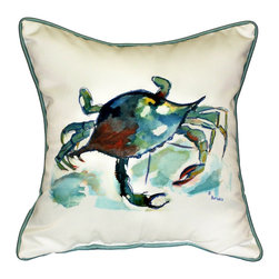 Betsy Drake Interiors - Betsy Drake Betsy'S Crab Indoor/Outdoor Pillow - Use Indoors Or Outdoors.  Brightens Up Any Room Or Patio.  Fade Resistant, Tough And Durable.  Spot Clean With Water And Dish Soap.