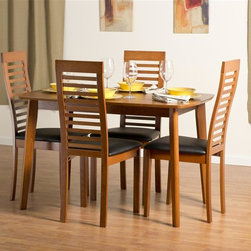 "Aeon Furniture - Dayton Dining Table Set with Denver Chairs in - Set includes table and 4 chairs. Dayton Dining Table. Solid Beech Wood Frame. Warm Cherry Finish. Beech Veneer Over MDF Top. Butterfly Extension Leaf. CARB Rated. Assembly Required. Open: 59 in. L x 31.5 in. W x 59 in. W x 29.5 in. H. 47.25 in. L x 31.5 in. W x 29.5 in. H (51 lbs.). Denver Dining Chairs:. Scandinavian Inspired Design Solid Beech Wood Dining Chair with a Ladder Back in a Warm Cherry Finish with Black Leatherette Fire Resistant Padded Foam Seat. CARB Rated. Assembly Required. Seat Height: 18 in.. 19 in. L x 18 in. W x 39.75 in. H (12 lbs.)With its great look and contemporary design, this extendable dining table meets your dining and entertainment needs while enhancing the look of your home.  The table is constructed of a solid beech wood frame, stained in a warm cherry finish.   The self-contained 17.5"" extension leaf easily transforms this table from an intimate piece to the social center of your home. Clearly recognizable for its Scandinavian mid-century modern classic qualities, this high back chair with its slatted ladder design is sure to make a statement.  Constructed from durable cherry stained beech wood with a black leatherette seat, these chairs will add contemporary glamour to your dining room."