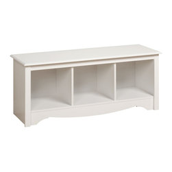 "Prepac - ""Prepac Cubbie Bench, White"" - ""Versatile and practical, the Cubbie Bench is at home in any room. Store favorite shoes in the three compartments under the sturdy bench and keep it in your front hallway. It's equally suitable for holding your baskets, books and blankets in other areas of the home, such as at the foot of a bed. With a simple style that blends with any decor, this is one bench that won't leave you on the sidelines.Finished in durable fresh white laminateConstructed from CARB-compliant, laminated composite woods with a sturdy MDF backerShips Ready to Assemble, includes an instruction booklet for easy assembly and has a 5-year manufacturer's limited warranty on partsAssembled Dimensions: 48""""W x 20""""H x 15.75""""DInternal Dimensions: 13.75""""W x 12.5""""H x 14""""D (each cubbie)Proudly manufactured in North America  Total Weight Capacity: 200 lbs"""