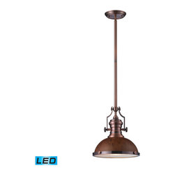 Elk Lighting - Landmark Lighting Chadwick 66545-1-LED 1 Light Pendant in Burl Wood & Antique Co - 66545-1-LED 1 Light Pendant in Burl Wood & Antique Copper - LED Offering Up To 800 Lumens belongs to Chadwick Collection by Landmark Lighting The Chadwick Collection Reflects The Beauty Of Hand-Turned Craftsmanship Inspired By Early 20Th Century Lighting And Antiques That Have Surpassed The Test Of Time. This Robust Collection Features Detailing Appropriate For Classic Or Transitional decors. Finishes Include Polished Nickel, Satin Nickel, Antique Copper And OiLED Bronze.��_��_ Various Diffuser Options, Including Glass, Metal, And Wood Printed Metal Shades, Allow For Adaptability To Almost Any Design Scheme. - LED Offering Up To 800 Lumens (60 Watt Equivalent) With Full Range Dimming. Includes An Easily Replaceable LED Bulb (120V). Pendant (1)