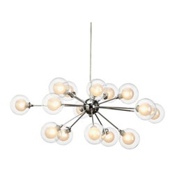Z Gallerie - Maddox Chandelier - Clean-lined and modern, our Maddox Chandelier illuminates your space with vintage inspired style.  Glass bulbs attached to polished nickel plated arms, intermittently stem from the chandelier's sleek center orb, highlighting its urban and modern appeal.  Finished with a chrome finished rod and ceiling plate for modern appeal and hanging at 31.5 inches wide by 15.5 inches high, our Maddox Chandelier is aptly sized for a wide variety of settings.