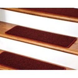 """Dean Flooring Company - Dean Serged DIY Carpet Stair Treads 27"""" x 9"""" - Ruby Red PLUSH (13) - Dean Serged DIY Carpet Stair Treads 27"""" x 9"""" - Ruby Red PLUSH with Double-Sided Tape Included : Quality, Stylish Carpet Stair Treads by Dean Flooring Company. Extend the life of your high traffic hardwood stairs. Reduce slips/increase traction (treads must be properly secured to your stairs). Cut down on track-in dirt. Great for pets and pet owners. 100% nylon. Set includes 13 carpet stair treads PLUS one roll of double-sided carpet tape for easy, do-it-yourself installation. Each tread is serged (edges are finished) with color matching yarn (no frayed edges). Beauitfully rounded corners. You may remove your treads for cleaning and re-attach them when you are done. This product is designed, manufactured, and sold exclusively by Dean Flooring Company. We do not sell our products for resale to any other retailers. Beware of purchasing unauthorized, counterfeit, inferior quality versions of our branded merchandise from other sellers. Add a touch of warmth and style to your stairs today with new stair treads from Dean Flooring Company!"""