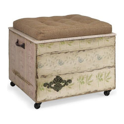 iMax - Evelyn Crate Storage Ottoman - Another delightful design by Ella Elaine, this storage ottoman features a tufted linen seat on a wooden crate with casters. Antique wall paper, iron handles and decorative metal flourishes all contribute to the vintage charm of this unique piece.
