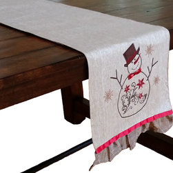 Xia Home Fashions - Snowman Embroidered Collection Table Runner, 13x72 - This merry and magical snowman is here to bring your home extra Christmas cheer this holiday season! Embroidered with jewel accents. Wipe clean with damp cloth. Handwash cold water, no bleach, lay flat to dry. Light iron as needed.