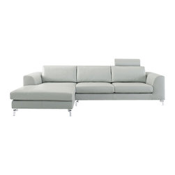 Whiteline Imports - Whiteline Imports Angela Sectional Sofa in Gray Leather with Chaise on Left - Sectional sofa in gray leather belongs to Angela collection by Whiteline