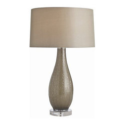 "Arteriors Home - Arteriors Home Norris Gray Optic Glass/Acrylic Table Lamp - Arteriors Home 17297 - Arteriors Home 17297-210 - The Norris table lamp offers a classic shape with sleek modern materials. It is constructed of optic glass, which is free of impurities and has a high refractive index. A sheer moss gray silk shade with matching sheer silk lining offers a beautiful glow and soft touch. Fully supported on an acrylic base measuring 1.25"" H x 6.5"" Diameter."