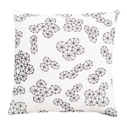 Plumed - Ekrar Pillow Cover - Our Ekrar pillow cover is a textile fabric designed by Plumed as a part of our Modern Graphics line, where you can mix and match our exclusive monochromatic designs. The textile is hand-drawn and then professionally printed on a lovely cotton and linen fabric; you will not find this design anywhere else. Black linen backing. Invisible zipper. Designed by Christine Dinsmore.