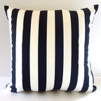 "Petra & Jules Embellished Wear - Nautical Blue and White Stripe Pillow - A Nautical Classic in Navy and White stripe. This 18"" square pillow in Poly/cotton with zipper closure has a Polyfill Pillow form included."
