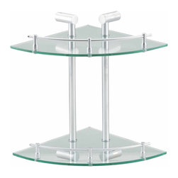 Renovators Supply - Bathroom Shelving Clear Glass/Stainless, Double Glass Shelf - A tempered glass and stainless steel corner shelving system! Durable, attractive, and versatile!