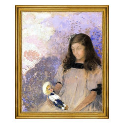 """Odilon Redon-16""""x20"""" Framed Canvas - 16"""" x 20"""" Odilon Redon Portrait of Simone Fayet framed premium canvas print reproduced to meet museum quality standards. Our museum quality canvas prints are produced using high-precision print technology for a more accurate reproduction printed on high quality canvas with fade-resistant, archival inks. Our progressive business model allows us to offer works of art to you at the best wholesale pricing, significantly less than art gallery prices, affordable to all. This artwork is hand stretched onto wooden stretcher bars, then mounted into our 3"""" wide gold finish frame with black panel by one of our expert framers. Our framed canvas print comes with hardware, ready to hang on your wall.  We present a comprehensive collection of exceptional canvas art reproductions by Odilon Redon."""