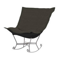 Howard Elliott Sterling Charcoal Scroll Puff Rocker - Titanium Frame - The Sterling Puff Chair is a simple yet sophisticated piece. The fabric features a hopsack look with a crisp hand rich color.