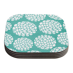 "Kess InHouse - Pom Graphic Design ""Hydrangea's Blossoms"" Teal Circles Coasters (Set of 4) - Now you can drink in style with this KESS InHouse coaster set. This set of 4 coasters are made from a durable compressed wood material to endure daily use with a printed gloss seal that protects the artwork so you don't have to worry about your drink sweating and ruining the art. Give your guests something to ooo and ahhh over every time they pick up their drink. Perfect for gifts, weddings, showers, birthdays and just around the house, these KESS InHouse coasters will be the talk of any and all cocktail parties you throw."