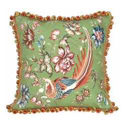 123Creations - Bird Green 18 x 18 Needlepoint Pillow - 100% Wool Hand Embroidered  123Creations - C654-18X18