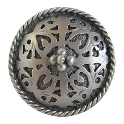 """Notting Hill - Notting Hill Moroccan Jewel Knob - Antique Pewter - Notting Hill Decorative Hardware creates distinctive, high-end decorative cabinet hardware. Our cabinet knobs and handles are hand-cast of solid fine pewter and bronze with a variety of finishes. Notting Hill's decorative kitchen hardware features classic designs with exceptional detail and craftsmanship. Our collections offer decorative knobs, pulls, bin pulls, hinge plates, cabinet backplates, and appliance pulls. Dimensions: 1-1/16"""" diameter"""