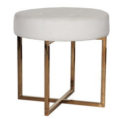 Worlds Away - Worlds Away - Melanie Stool - Melanie, White With Gold - Worlds Away - Melanie Stool In White/Gold - MELANIE WH