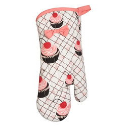 Cupcake Oven Mitt - Bring the fun of cupcakes and pink into your kitchen with this fun, retro-inspired oven mitt.  Seriously, take a good look at your oven mitts - are they burned, stained, and groady in general? Toss them and buy this one!