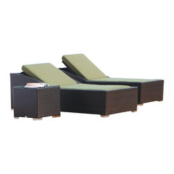Tosh Furniture - Modern Tosh Furniture Brown Lounge Set - Set includes chaise lounge and side table with glass.