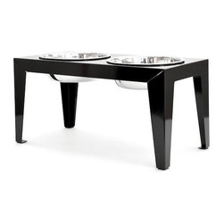 Doca Pet - Doca Pet Dog Ear Diner, Black, Medium - Powder coated steel. Rubber non-skid feet. Includes two stainless steel bowls.