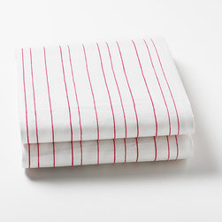 Little Auggie - Painted Stripe Pink Fitted Crib Sheet - Fitted Crib Sheet in Painted Stripe Pink