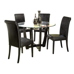 Homelegance - Homelegance Sierra 5-Piece Dining Room Set - The glass topped Sierra collection adds flair to any contemporary casual dining space. The ebony finish is set off by a chrome accent ring furthering its modern shape and appearance. Available in regular height and counter height. Made of select hardwoods and veneers, chairs covered in black bi-cast vinyl.