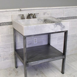 "Vanities  wrought iron and stone - Carrara vanity console Asia  featuring 6"" thick stone top and wrought iron base in weathered pewter finish ."
