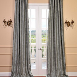 Alexandria Platinum Embroidered Faux Silk Curtain - Alexandria Platinum Embroidered Faux Silk Curtain: Defined by a unique sheen and fine weave, our Exclusive Faux Silk Curtains & Drapes are gorgeous and timeless. Our drapes have a crisp smooth finish with unique embroidery patterns. The Faux Silk fabric provides you with a quality, cost saving alternative.