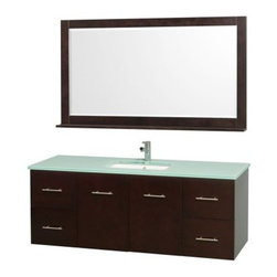 Wyndham Collection Centra 60-in. Single Bathroom Vanity Set - Espresso - Make the most of your master bath with the Wyndham Collection Centra 60-in. Single Bathroom Vanity Set - Espresso. Ample storage, modern style, and a matching mirror make it perfect. Made of eco-friendly, solid hardwoods in an espresso finish, this vanity set features an undermount sink, your choice of stylish countertop materials, and a framed mirror with shelf. You get plenty of storage from the two drawers on either side, dual cupboard doors with shelving behind, and a stately countertop. Brushed chrome rod pulls complete the contemporary style. About the Wyndham CollectionWyndham and the Wyndham collection are all about refinement, detailing, uniqueness, quality, and longevity. They are dedicated to the quality of their products and own the factory where each piece is constructed. This allows Wyndham to offer products that reflect the rigorous quality standards required for every piece that is offered to their customers. The Wyndham collection showcases elegant, modern design styles that highlight functionality and style in every detail.